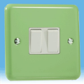 Varilight Pastel 2 Gang 10A 1 or 2 way Rocker Light Switch Beyrl Green XY2W.BG